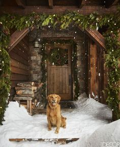 A golden retriever sits at the front door of this cozy Montana log cabin in the mountains decorated for Christmas with wreaths and garlands.