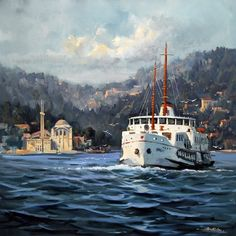 Dali Paintings, Landscape Paintings, Watercolor Paintings, Istanbul City, Oil Painting Pictures, Pics Art, Turkish Art, Turkey Travel, Pour Painting