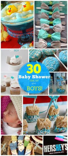 Loving the dessert pops and DIY onesies... And rubber duckie mason jars