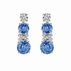 Chaumet high jewellery Liens earrings in rhodium-plated white gold, set with four round-cut Ceylon blue sapphires and brilliant-cut diamonds.