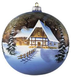 Hand blown and Hand Painted Glass Christmas Ornaments with decorated home(house) in Ice for Christmas day