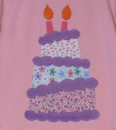 Birthday Cake Applique by Fandangled on Etsy, $24.00