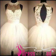 White homecoming dress 2015 new fashion ball gown summer short prom dress with beaded neckline lace girls gowns