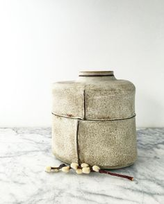 I love this rustic oval urn with seams.  110 cubic inches.  #honorwithbeauty #pottery #ceramics