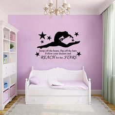GYMNAST GYMNASTIC,GIRLS Bedroom Quote, Vinyl Wall Art Sticker Decal, Mural, 2