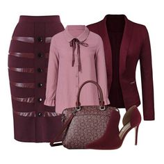 dollies Hey style experts, how about a burgundy and pink ensemble to spice things up this holiday week. We have found the perfect pencil skirt with leather detail and an open front blazer in Classy Outfits, Chic Outfits, Fall Outfits, Fashion Outfits, Womens Fashion, Ladies Fashion, Trendy Fashion, Dolly Dress, Church Attire