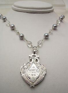 Antique Silver Award Fob & Pearl Necklace