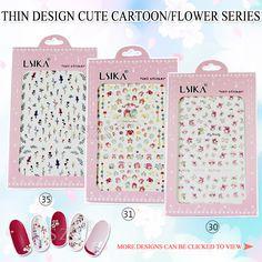 1bag/lot 3D Nail Art Stickers Decal Cute Cartoon cat bear rabbit flower DIY decor #Affiliate