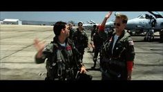 """""""I feel the need—the need for speed!"""" Tom Cruise and Anthony Edwards as Lt. Pete """"Maverick"""" Mitchell and Lt. Nick """"Goose"""" Bradshaw in Top Gun 1986."""