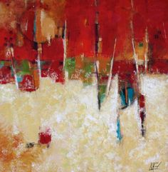 "ABSTRACT RED PAINTING ""Refraction"" Original Acrylic 36"" x 36"" canvas by Elizabeth Chapman"
