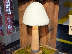 Mush-Lume Table Lamp by Danielle Trofe, Mush-Bloom Pot Planters by Danielle Trofe, mushroom mycelium, agricultural waste, biodegradable table lamp, sustainable interior design, mushroom furniture, Ecovative Design, WantedDesign NYC 2014, NY Design Week 2014