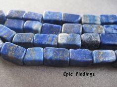 Sale!! Lapis Lazuli Dark Blue Square Tube Gemstone Beads, DIY Jewelry Design, Craft Supply, Epic Findings