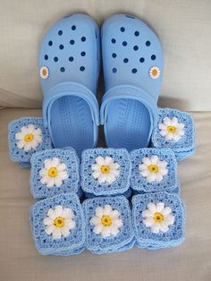 Daisy Grannies. I don't understand why the crocs have to be involved. I'm nervous people are going to think I'm pinning this for those. For the record, I love to crochet and I absolutely hate crocs. :)