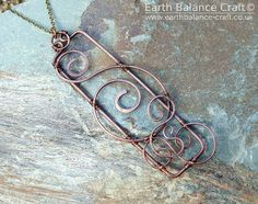 Pendant Ocean Spray Ocean Scroll Copper by EarthBalanceCraft