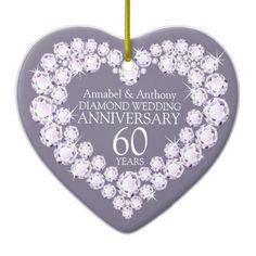 Diamond Wedding Anniversary heart personalized ornament. Designed by www.sarahtrett.com