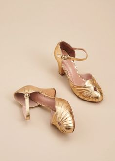 Amber Luxe Metallic Gold - Miss L Fire Inc Metallic Shoes, Metallic Leather, Metallic Gold, Vintage Style Shoes, Leather Court Shoes, Long Toes, Ankle Strap Heels, Buy Shoes, Shoe Brands