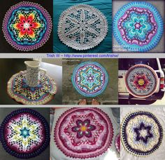 """Starflower Mandala, *free* pattern by Zelna Olivier of Zooty Owl. Original 13"""" 18-round pattern worked in DK (Stylecraft) yarn & hook size 'E' (3.5mm). Obviously size is very adaptable, worked in everything from embroidery thread to Red Heart yarn. *Many* different looks depending on yarn weight, hook size, & color choices. All photos from Ravelry Project Gallery . . . . ღTrish W ~ http://www.pinterest.com/trishw/ . . . . #crochet #doily"""