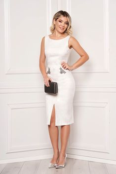 StarShinerS ivory dress occasional midi pencil sleeveless v back neckline with crystal embellished details jacquard Baptism Dress, Ivory Dresses, Product Label, Dress Cuts, Evening Dresses, Bodycon Dress, Neckline, Crystals, Detail