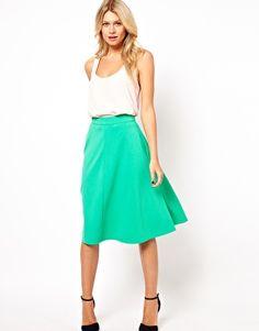 ASOS | ASOS A-Line Midi Skirt in Ponte at ASOS