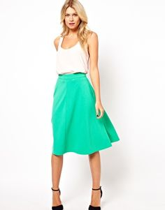 ASOS A-Line Midi Skirt in Ponte...definitely going to try to make this!
