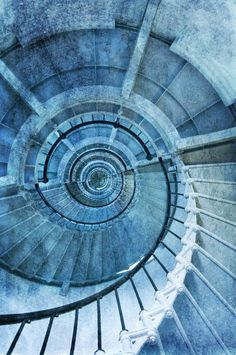 Blue lighthouse stairs.
