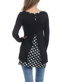 Look at this #zulilyfind! Black Polka Dot Split-Back Tunic #zulilyfinds