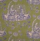 SCALAMANDRE WINEGROWERS PRINTED TOILE FABRIC BLUE GRASS