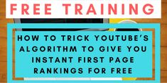 How to Trick The You Tube Algorithm So It Gives You INSTANT Page 1 Rankings for FREE : http://francisfaulkner.com/how-to-trick-the-you-tube-algorithm-so-it-gives-you-instant-page-1-rankings-for-free-fantastic-new-training/     [Fantastic New Training]