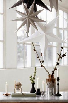 weihnachtsdeko ideen skandinavischer stil kerzen weihnachtssterne