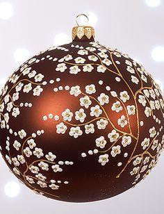 Velveteen Cherry Blossom Ornament, 3-inch diameter