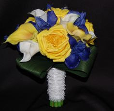 Royal Blue Iris, Yellow Garden Rose and Calla Lily Bridal Bouquet | Destination Or Not - Designer Bridal Bouquets