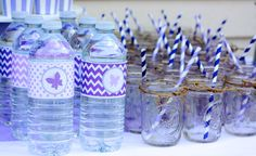 Lavender Butterfly Baby Shower by 4 Kids Cakes on Everyday Party Magazine. water bottle wrappers by A Party Studio on Etsy.
