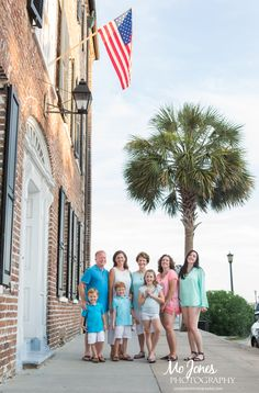 Charleston Photography Session Family under American Flag
