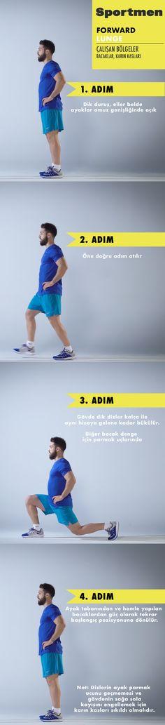 Bacak ve karın kaslarını çalıştıran Forward Lunge ile evde kaslarınızı güçlendirin! #sportmen #forwardlunge #egzersiz #fitness #video #barçın