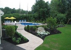 Landscaping around pool