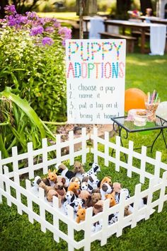Puppy Adoption Station from a Puppies and Sprinkles Birthday Party on Kara's Par. - Puppy Adoption Station from a Puppies and Sprinkles Birthday Party on Kara's Par… – - Puppy Birthday Parties, Puppy Party, Dog Birthday, Birthday Party Themes, Birthday Bash, Cake Birthday, Birthday Ideas, Surprise Birthday, Birthday Morning