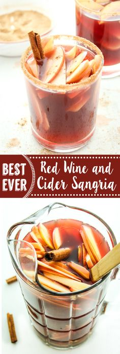 RED WINE APPLE CIDER SANGRIA! – This sangria recipe is a fall and holiday favorite! Full bodied pinot noir and apple cider are mixed together and poured over sliced apples and pears.