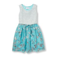 bc7edea5c Girls Sleeveless Sparkle Foil Butterfly Print Mesh Belted Woven Dress