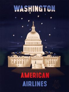 1930s Washington DC Capitol Mall Travel by Train Vintage Style Poster 20x30