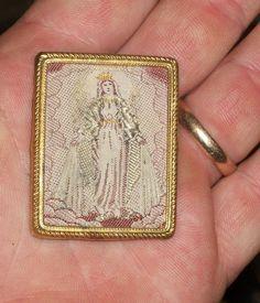 Vtg Religious Icon Mini Scapular Needlework Embroidery Sewn Mother Mary Germany | eBay