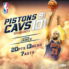 Cleveland Cavaliers defeat Detroit Pistons to take a commanding series lead in LeBron James had 20 points, 13 rebounds and 7 assists in the winning effort. Detroit Pistons, Rebounding, Lebron James, Cleveland, Nba, Effort, Basket, Sports, Hs Sports
