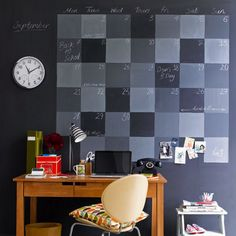 Wall Calendar Using Different Shades Of Chalkboard Paint   For A Home Office ?