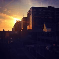 Beautiful sunset at Frankfurt Airport