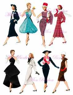 Eight 1950s Fashion-istas Digital Collage Sheet .PNG - DiY Printables - INSTANT DOWNLOAD via Etsy