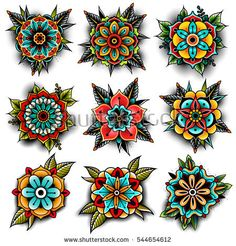 Image result for decorative old school flower tattoos
