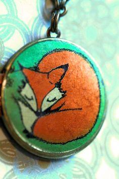Locket art necklace, Lillebelle the Sleeping Fox