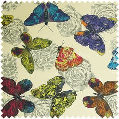 Blue Butterfly Fabric French Script From Brick House