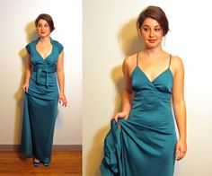 Jade green halter dress with shrug jacket  by RecentHistory - Have a Vestiesteam New Year!