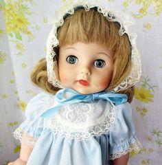"1961 Madame Alexander 14"" Caroline Kennedy Doll Blue Dress Bonnet | eBay"
