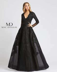 Mac Duggal Illusion Back Embroidered Dress Prom Dresses Long With Sleeves, Gowns With Sleeves, Black Wedding Dresses, Long Sleeve Gown, Bride Dresses, Lace Ball Gowns, Ball Dresses, Evening Dresses, Mac Duggal